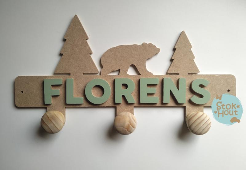 Naamkapstok - Type #1 (Beer) - 6-8 letters. Bijv. 'florens'