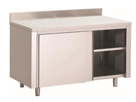 RVS werkbank 1400(l)x700(d)x850(h)mm met schuifdeuren en achteropstand