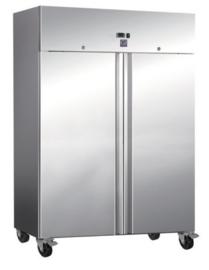 RVS 1200 liter koelkast, statisch gekoeld met ventilator.