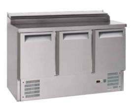 Saladette 3-deurs RVS , met 8x GN1/6 prepareer unit