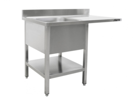 Spoeltafel voor vaatwasser met 1 bak   B 1200 mm x D 700 mm x H 850 mm
