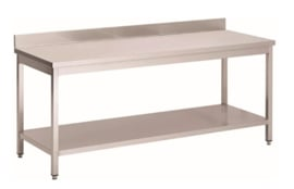 RVS werktafel met achteropstand en onderblad, 1100(l)x700(d)x850(h)mm