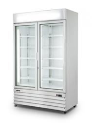 Bedrijfsvrieskast met 2 glazen deuren wit