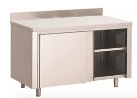 RVS werkbank 1200(l)x700(d)x850(h)mm met schuifdeuren en achteropstand