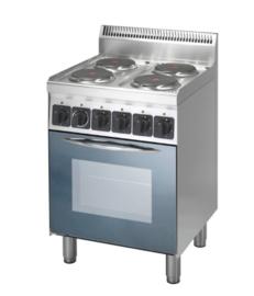 Elektrisch fornuis met 4 kookplaten en heteluchtoven