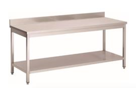 RVS werktafel met achteropstand en onderblad, 1200(l)x700(d)x850(h)mm