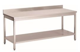 RVS werktafel met achteropstand en onderblad, 1300(l)x700(d)x850(h)mm