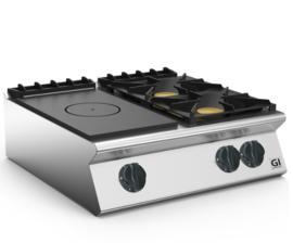 Gloeiplaat toestel 80cm, gietijzeren kookplaat en 2 branders