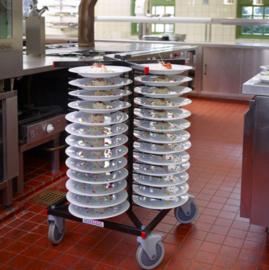 Verrijdbaar bordenrek geschikt voor 52 borden