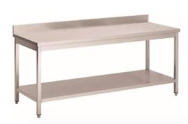 RVS werktafel met achteropstand en onderblad, 2000(l)x700(d)x850(h)mm