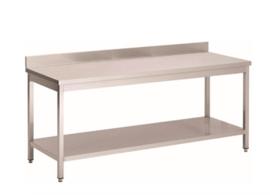 RVS werktafel met achteropstand en onderblad, 1700(l)x700(d)x850(h)mm