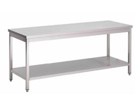 RVS werktafel met onderblad, 1300(l)x700(d)x850(h)mm
