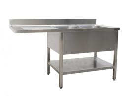 Spoeltafel met 2 wasbakken, rechts  B 1600 mm x D 700 mm x H 850 mm