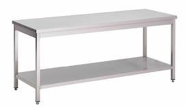 RVS werktafel met onderblad, 900(l)x700(d)x850(h)mm