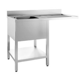 spoeltafel met spoelbak L, onderblad en ruimte voor vaatwasser, 1200(l)mm, gelast