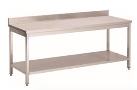 RVS werktafel met achteropstand en onderblad, 1500(l)x700(d)x850(h)mm