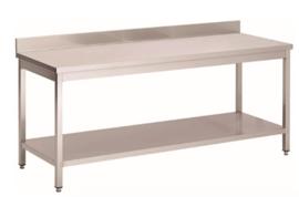 RVS werktafel met achteropstand en onderblad, 1600(l)x700(d)x850(h)mm