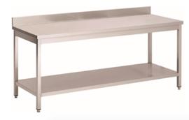 RVS werktafel met achteropstand en onderblad, 1000(l)x700(d)x850(h)mm