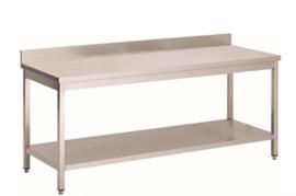 RVS werktafel met achteropstand en onderblad, 800(l)x700(d)x850(h)mm