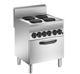 Kooktoestel met 4 kookplaten en elektrische GN1/1 oven, 70cm