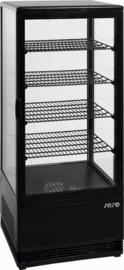 Koelvitrine zwart 98 liter