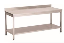RVS werktafel met achteropstand en onderblad, 1800(l)x700(d)x850(h)mm