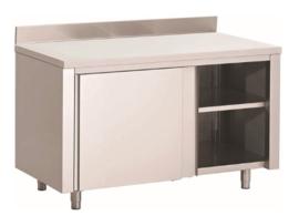 RVS werkbank 1000(l)x700(d)x850(h)mm met schuifdeuren en achteropstand