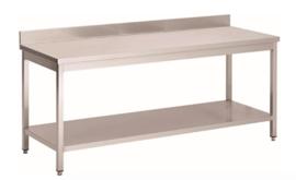 RVS werktafel met achteropstand en onderblad, 1400(l)x700(d)x850(h)mm