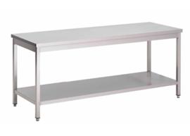 RVS werktafel met onderblad, 1400(l)x700(d)x850(h)mm