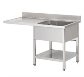 spoeltafel met spoelbak R, onderblad en ruimte voor vaatwasser, 1200(l)mm, gelast