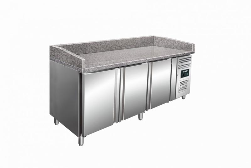 Pizza koelwerkbank 3 deuren met granieten blad