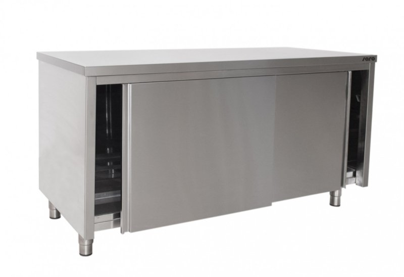 Werkkast RVS met schuifdeuren W 1200 x D 700 x H 850 mm