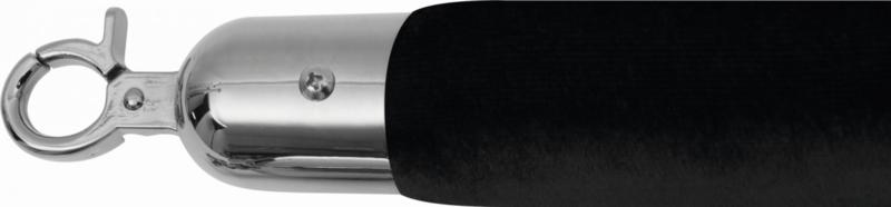 Afzetkoord voor Afzetpaal - 1,5 meter - Velours Zwart - Chroom