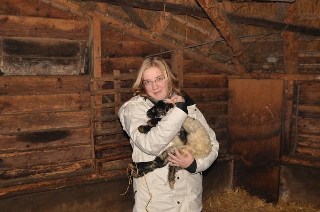 Roosmarijn met geadopteerd lammetje Roos ( geboren 11 december )