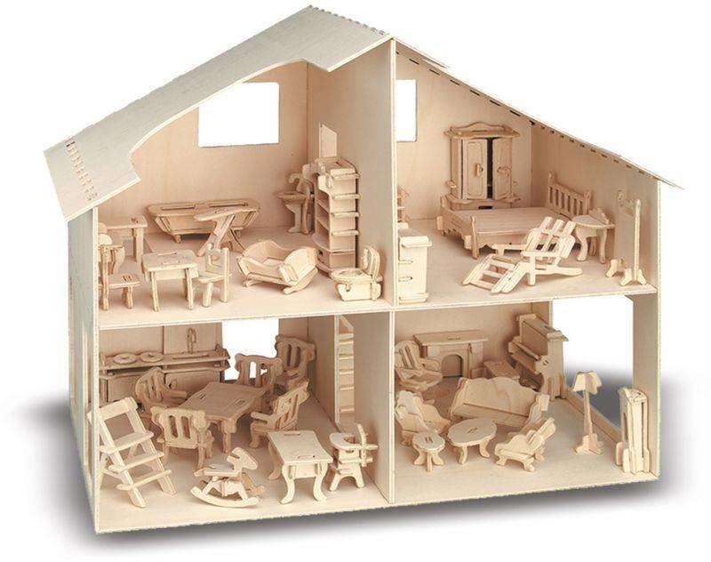 Poppenhuis met meubels