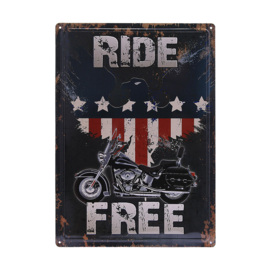 Large Metal Plate - Ride Free - Harley-Davidson Motorcycle