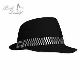 Rock Daddy - Felt Hat in black with black/gray checker band