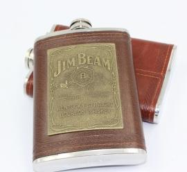 Stainless Steel Flask - Jim Beam - Brown Leather Look