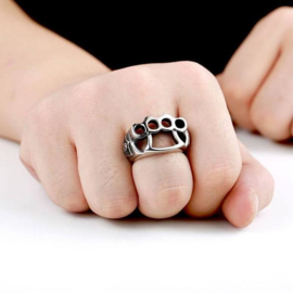Streetfighter - Brass Knuckle Duster Ring - Silver