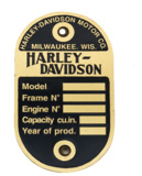 Harley-Davidson Brass frame data plate for 1940 WLA (OEM 3531‑40M)