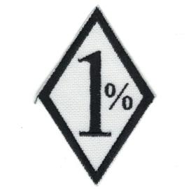 Patch - 1% - One Percenter - 'Bad Biker' - White