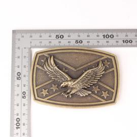 Belt Buckle Rebel flag with Eagle - BRASS