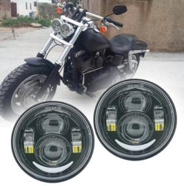 LED DRL For Harley Fat Bob Led headlight - DARK EDITION