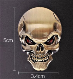 Red Eyed Brass Skull badge - Small
