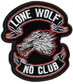 "158 - PATCH - LONE WOLF - NO CLUB - 4"" - wolfhead and banners"
