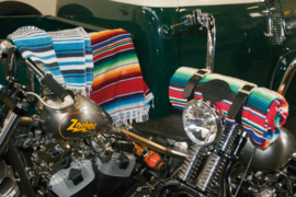 Mexican blanket - Dark Green White Black - with Black leather holder