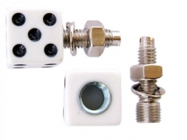 License Plate Mounts - White Dice - TrikTopz - Bolts/Nuts