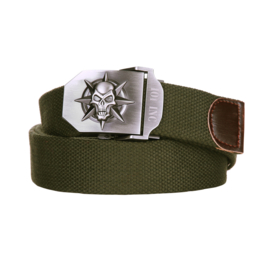 Military Buckle Belt - Skull & Star - Metal/Canvas - Army Green