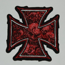 Large PATCH - Chopper sign / Maltese cross with red skulls