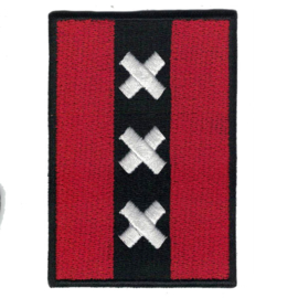PATCH with black border -  Flag of Amsterdam - the Netherlands - Nederland [medium]